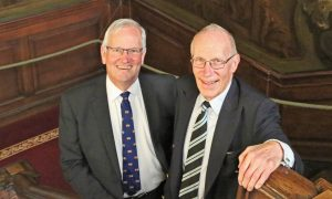 Chairman Dr Robert Treherne-Jones with outgoing Chairman Sir Marcus Setchell on the Hogarth Stair