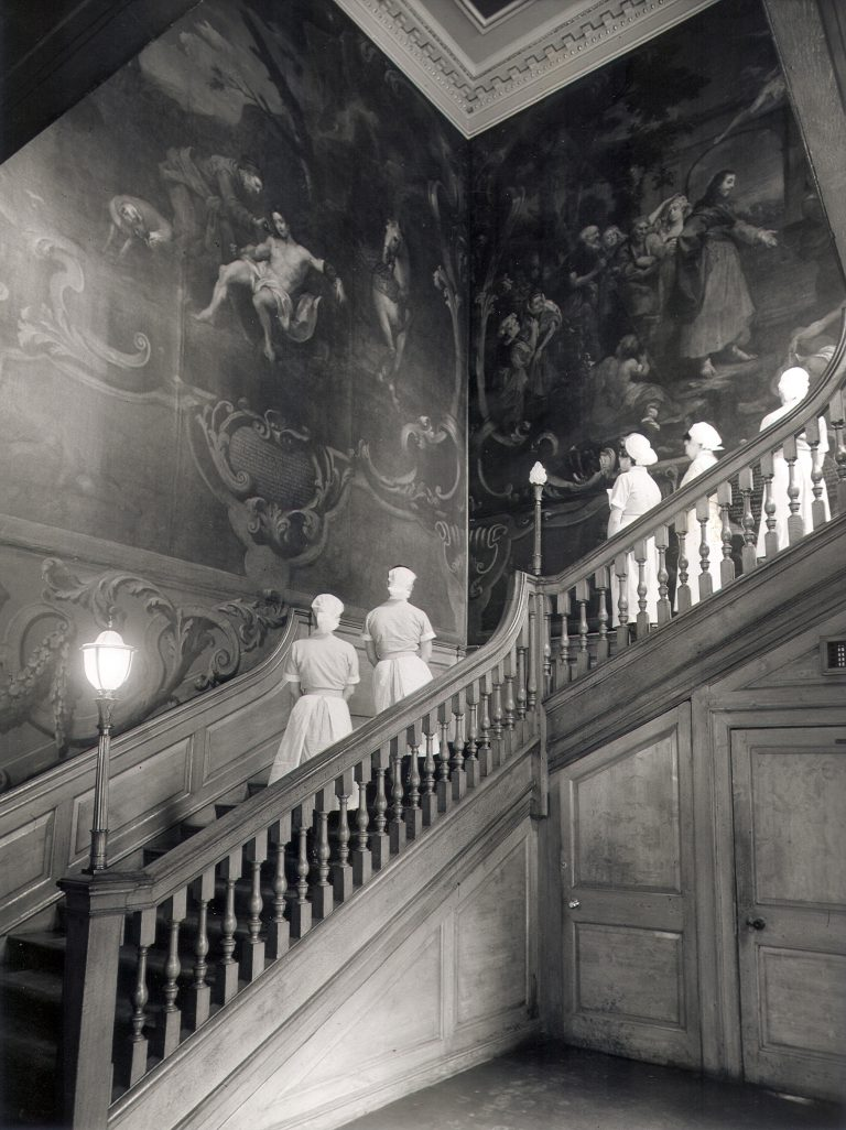 Nurses on the Hogarth Stair in the 1960s