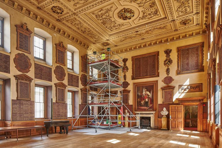 Scaffolding in the Great Hall for preliminary inspection