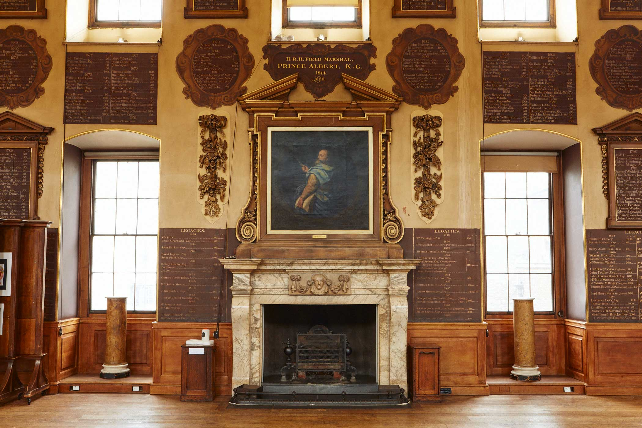 Portrait of St Bartholomew over the fireplace in the Great Hall