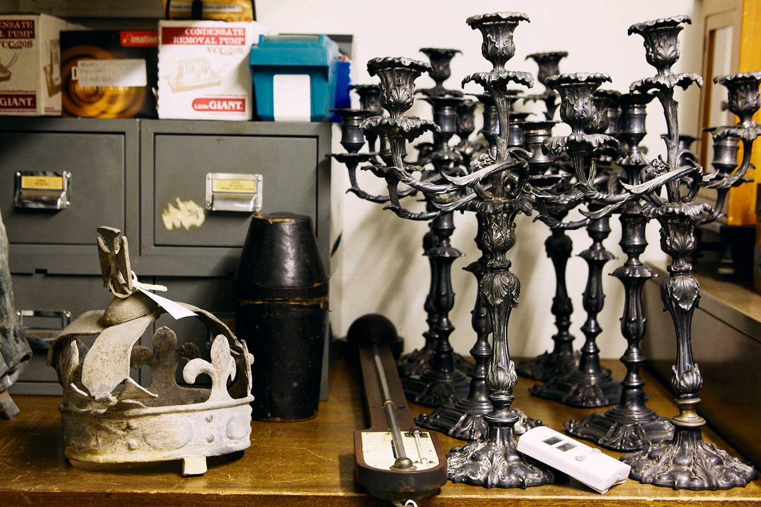 Candlesticks and crown from the Barts museum collections