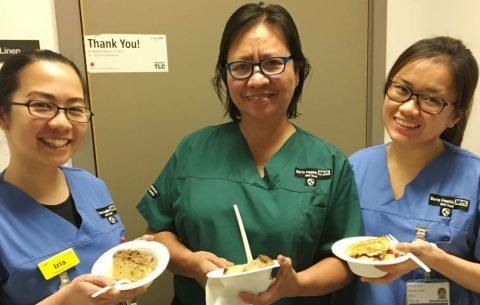 Nurses enjoy food from the Great British Menu