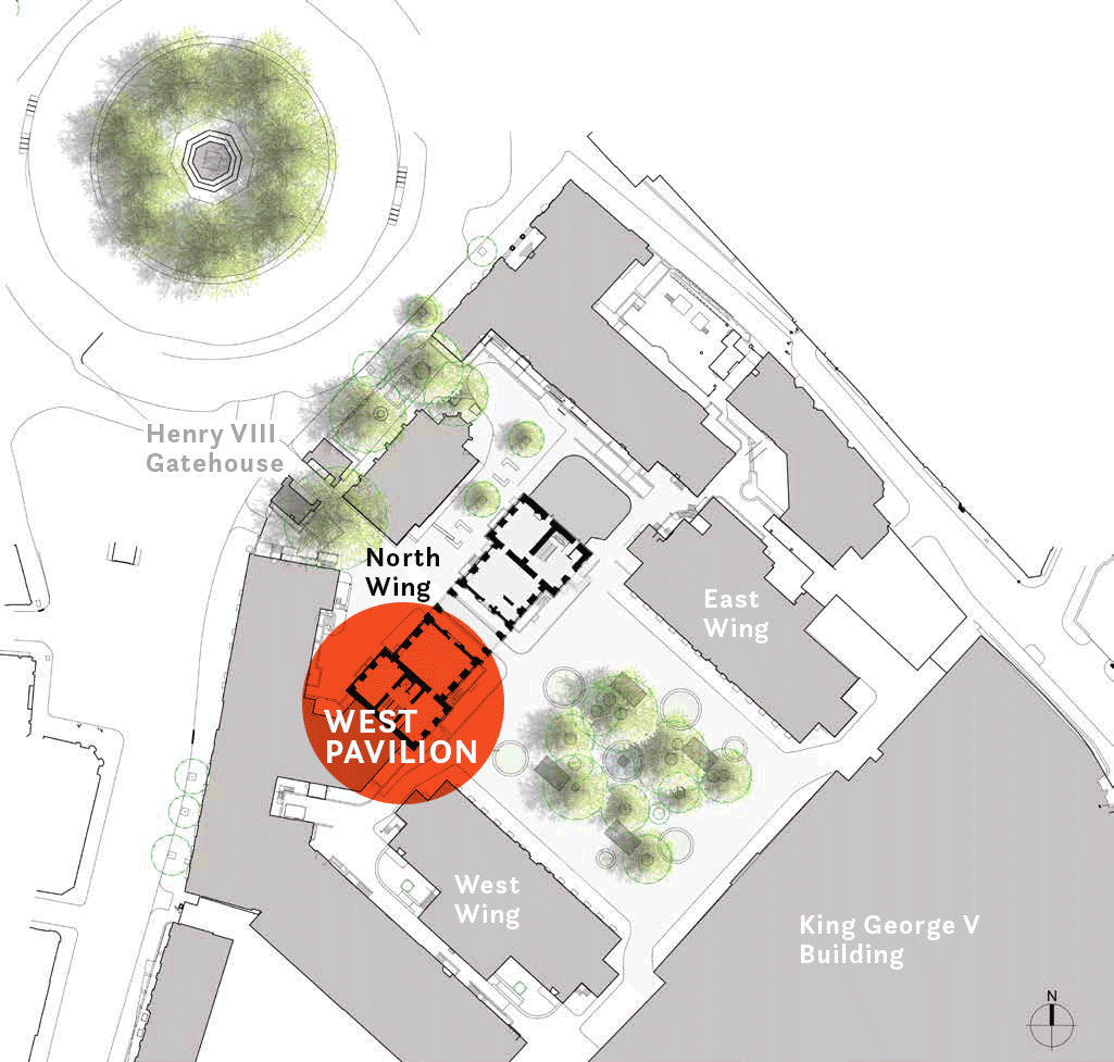 St Bartholomew's Hospital site plan showing North Wing and west pavilion