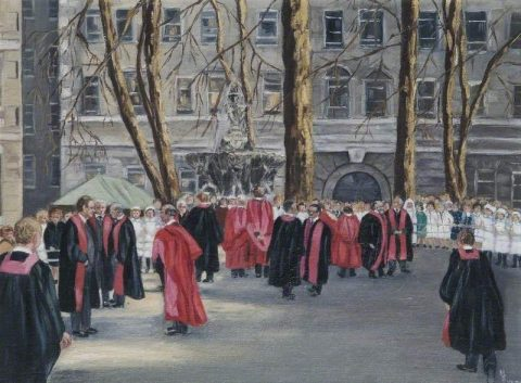 Lynch, Monica Sheila, 1911-1994?; Waiting for the Queen, St Bartholomew's Hospital, 850th Anniversary Celebrations