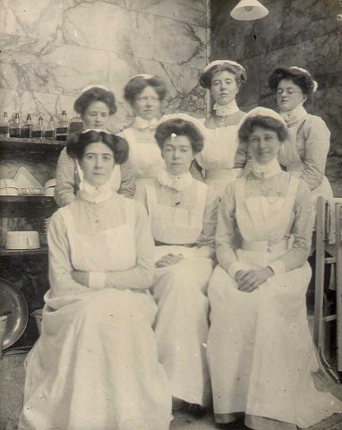 Barts Hospital Archive ref SBHX8/77 Group of nurses in Martha Theatre 1905-1908