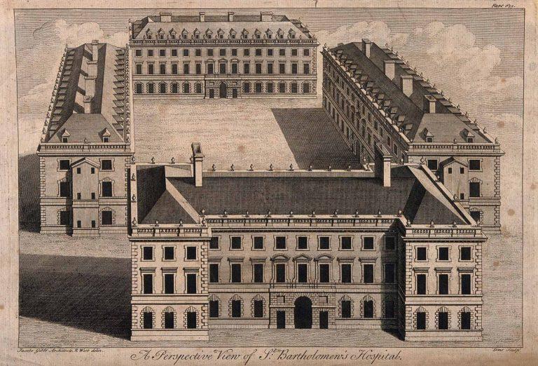 Perspective on James Gibbs design for St Bartholomew's Hospital